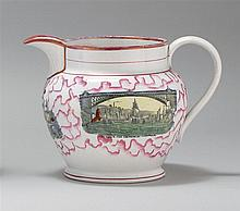 LARGE SUNDERLAND LUSTRE PITCHER With three maritime transfer decorations: