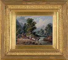 JOHN ANTHONY PULLER, English, Active 1821-1867, A conversation on the river bank, Oil on canvas, 8