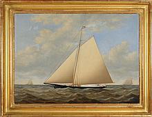 """JOSEPH B. SMITH, American, 1798-1876, """"The Ship Yacht Julia""""., Oil on canvas, 25½"""" x 36"""". Framed."""