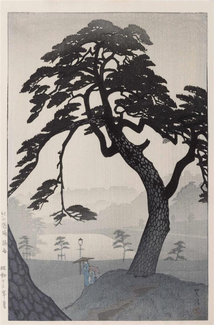 KASAMATSU SHIRO Pine tree in the mist with figures holding umbrellas. Watanabe Publishing seal lower left.