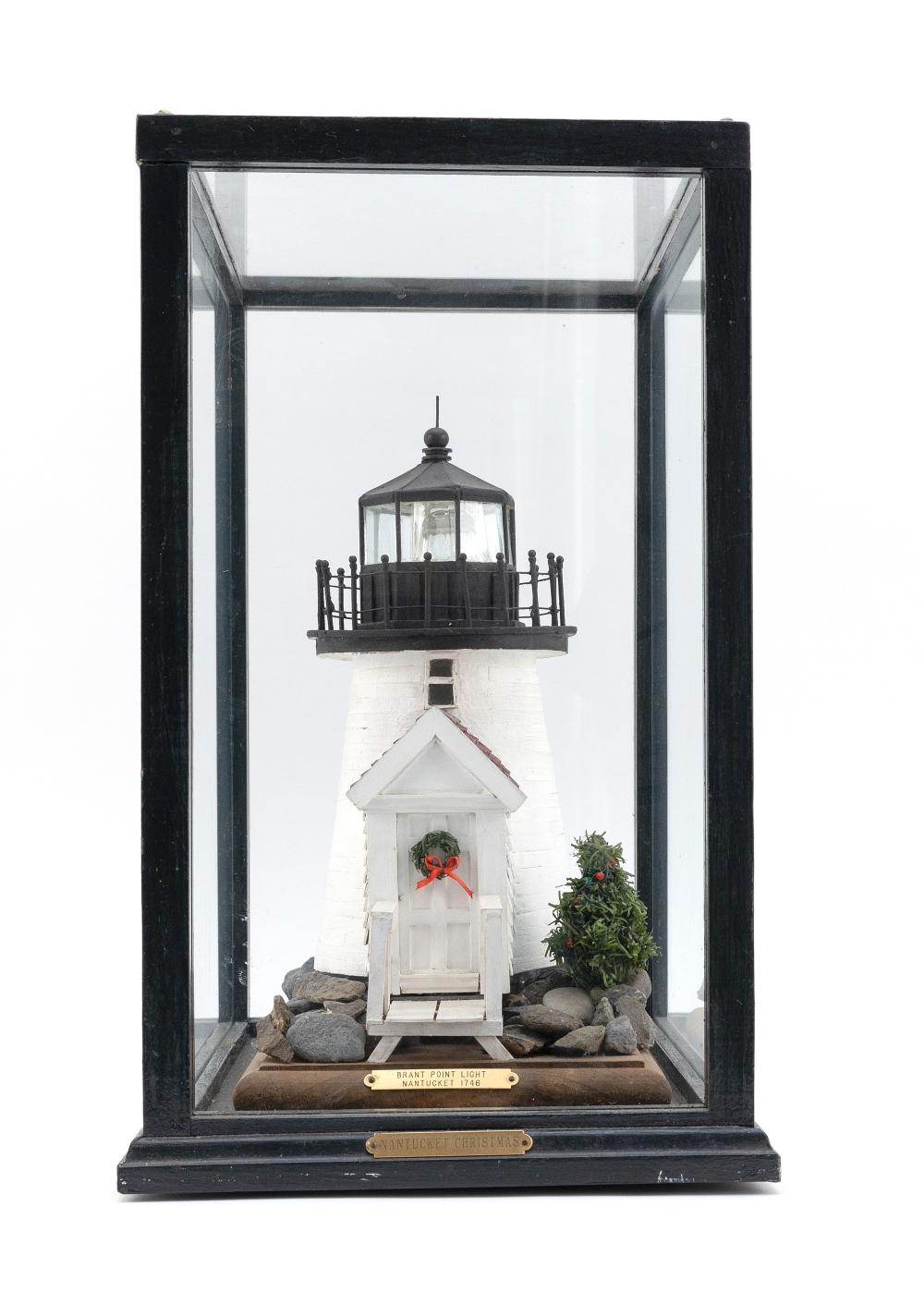 """SMALL DIORAMA OF NANTUCKET'S BRANT POINT LIGHTHOUSE 20th Century Height 16.75"""". Width 9.75"""". Depth 13.5""""."""