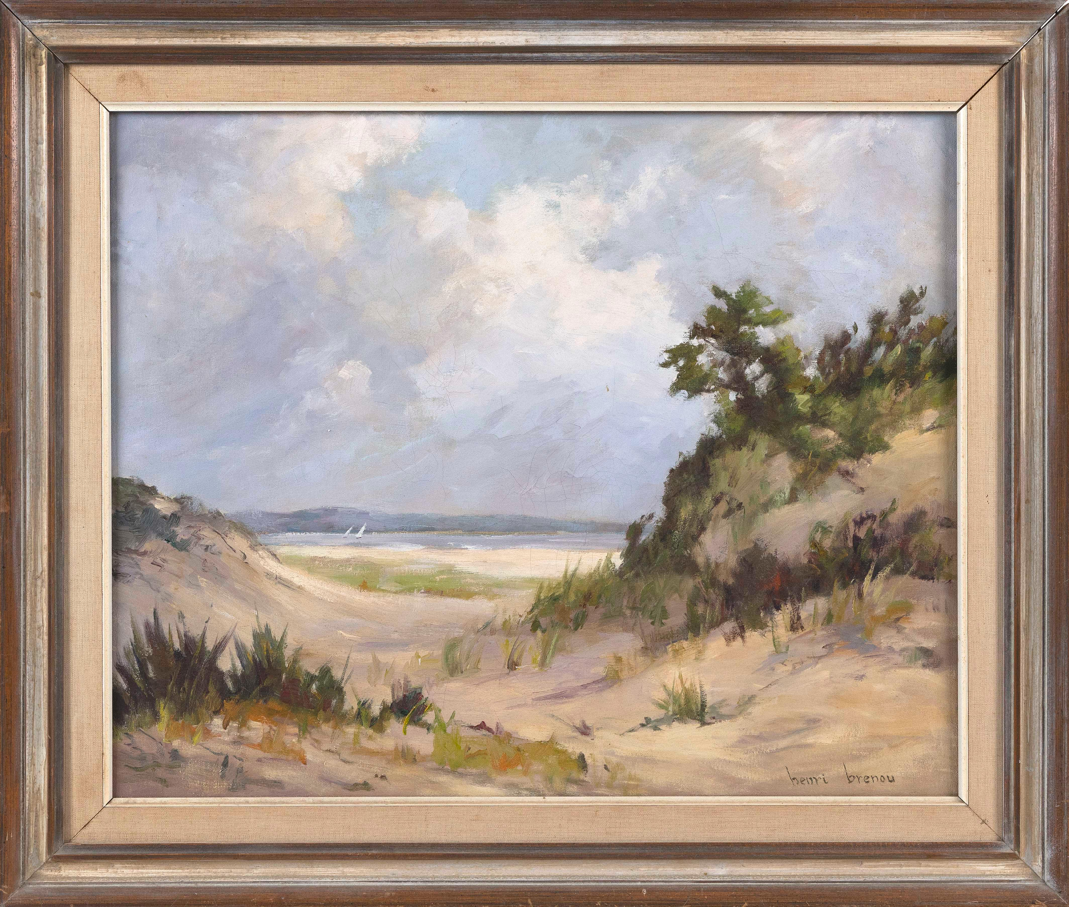 "HENRI BRENOU (Massachusetts, 1904-1976), Cape Cod landscape., Oil on canvas, 22"" x 27"". Framed 28"" x 32""."