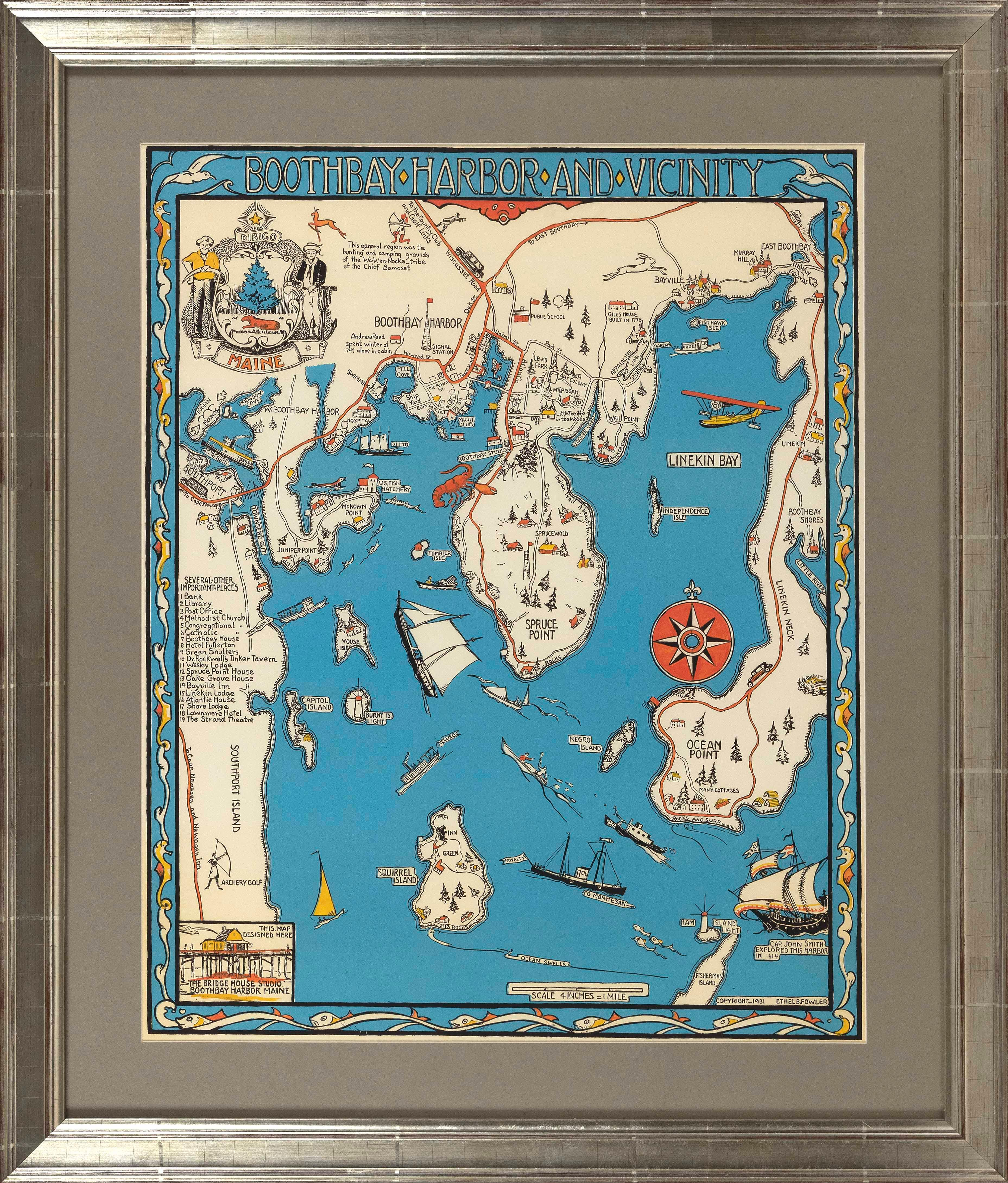 """REPRODUCTION DECORATIVE MAP """"BOOTHBAY HARBOR AND VICINITY"""" Contemporary 28"""" x 22"""" sight. Framed 37"""" x 31.5""""."""