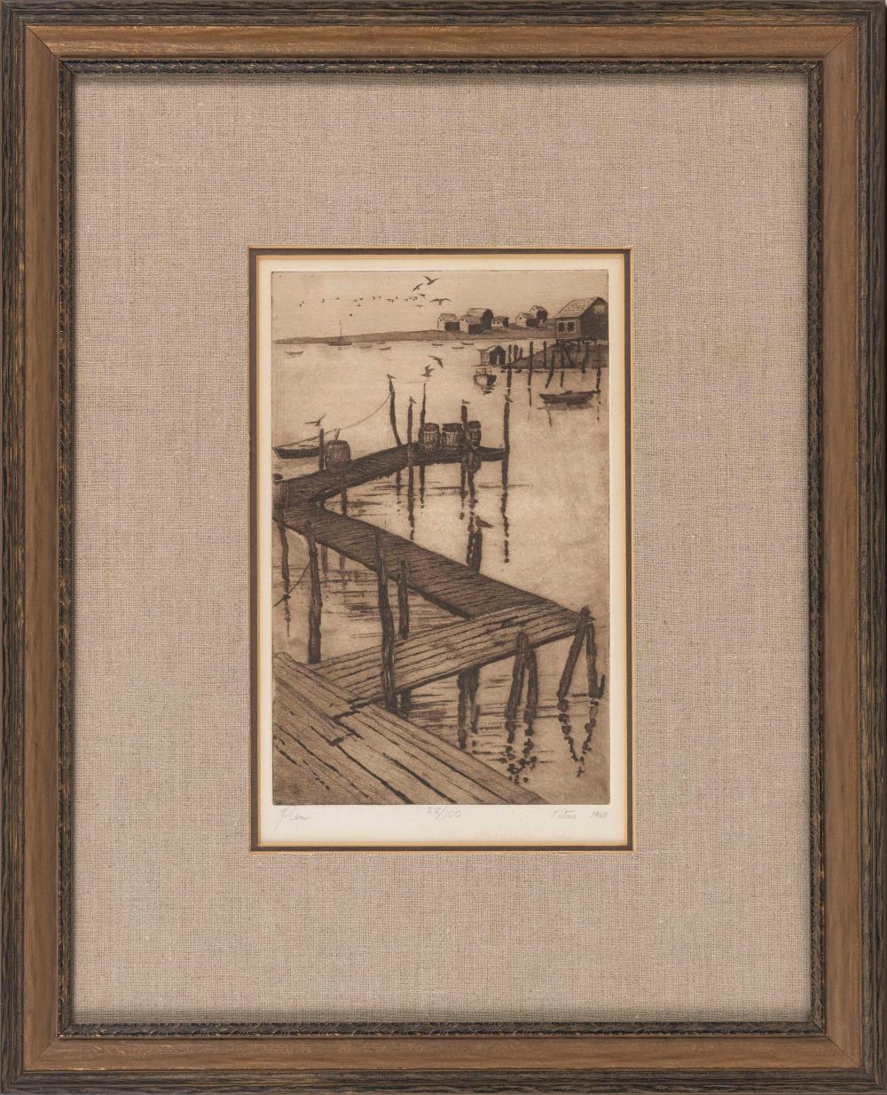 """SUSAN BOOTH TITUS (America, 1940-2016), """"Pier""""., Etching on paper, 12"""" x 7.5"""". Framed 22.5"""" x 18""""."""