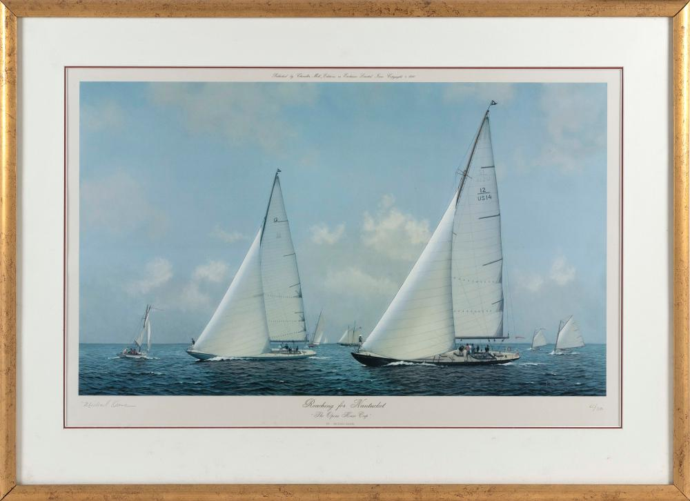"""MICHAEL KEANE (Massachusetts, 1948-2015), """"Reaching for Nantucket - the Opera House Cup""""., Lithograph on paper, 20"""" x 31"""" sight. Framed 29"""" x 38""""."""