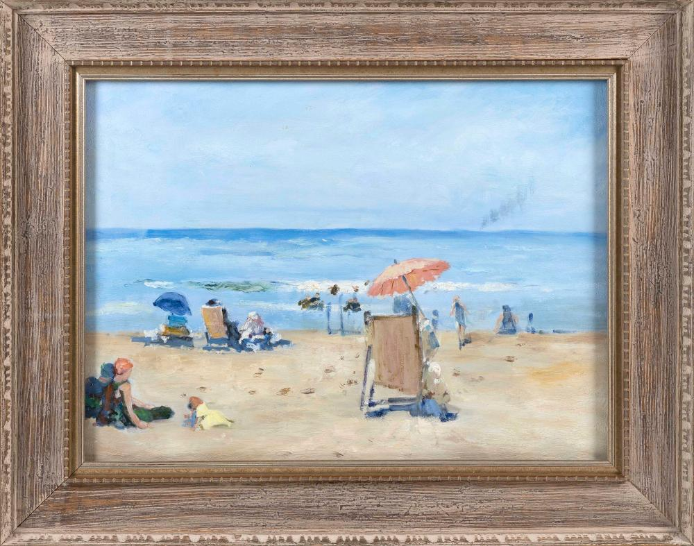 """AMERICAN SCHOOL (Late 20th Century,), A day at the beach., Oil on board, 20"""" x 26.5"""" sight. Framed 28.5"""" x 35""""."""