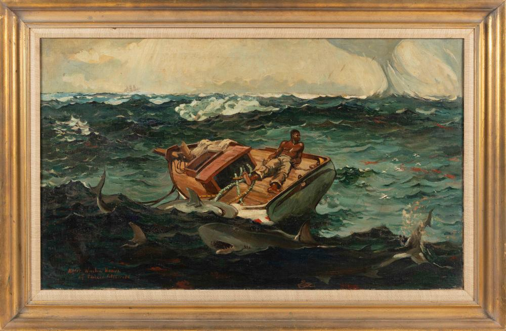 """AFTER WINSLOW HOMER (America, Early 20th Century), """"The Gulf Stream""""., Oil on canvas, 24"""" x 40.25"""". Framed 31.5"""" x 47.5""""."""