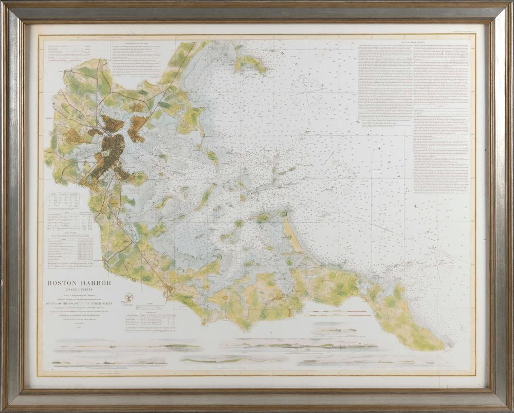 """REPRODUCTION CHART OF BOSTON HARBOR Contemporary 30"""" x 38.25"""". Framed 34.5"""" x 42""""."""