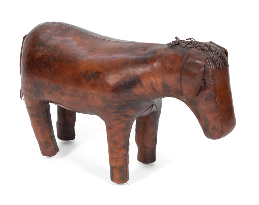 """LEATHER DONKEY-FORM FOOTSTOOL Height 17"""". Length 26""""."""