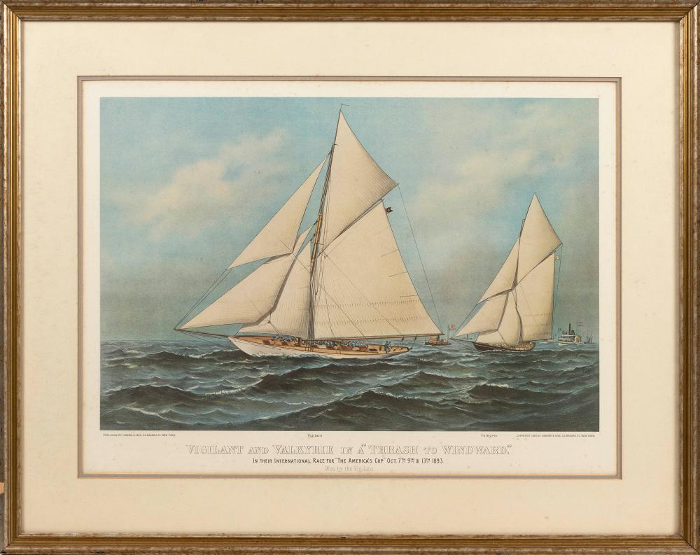 """CURRIER & IVES AMERICA'S CUP PRINT 19th Century 16"""" x 24"""" sight. Framed 26.5"""" x 33.5""""."""