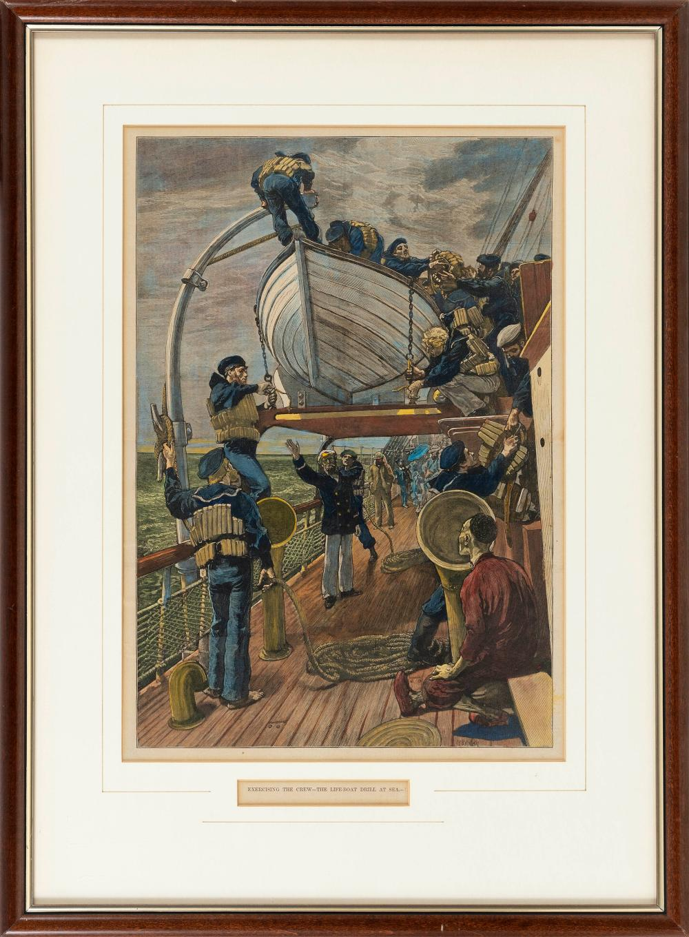 """COLOR LITHOGRAPH """"EXERCISING THE CREW - THE LIFEBOAT DRILL AT SEA"""" Dated 1881 On paper, 18"""" x 12.5"""" sight. Framed 26"""" x 20""""."""