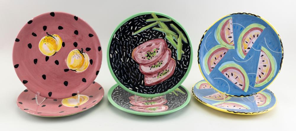 REBECCA CROSS (America, b. 1954), Twelve custom plates with fruit motifs., Ceramic, diameters 12