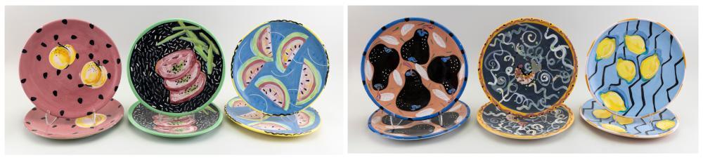 "REBECCA CROSS (America, b. 1954), Twelve custom plates with fruit motifs., Ceramic, diameters 12""."