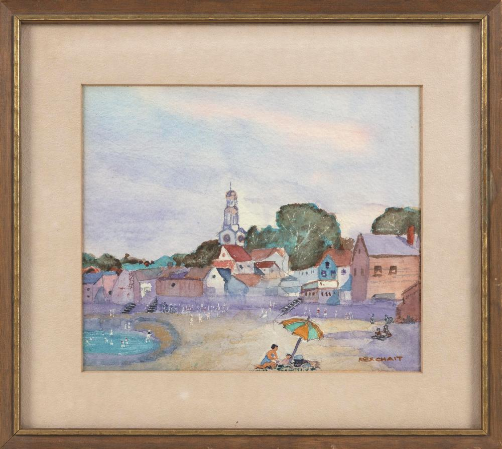 """REX CHAIT (America, 20th Century), Rockport Beach., Watercolor on paper, 13"""" x 14.5"""". Framed 14"""" x 16""""."""
