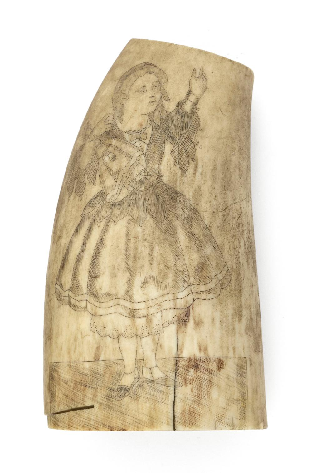 """SCRIMSHAW WHALE'S TOOTH 19th Century Length 4""""."""