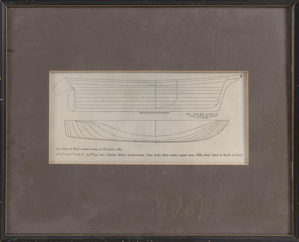"""PLANS FOR THE BARK """"ANDREW HICKS"""" OF WESTPORT 1867 Contemporary 6.25"""" x 13.5"""" sight. Framed 17"""" x 21""""."""