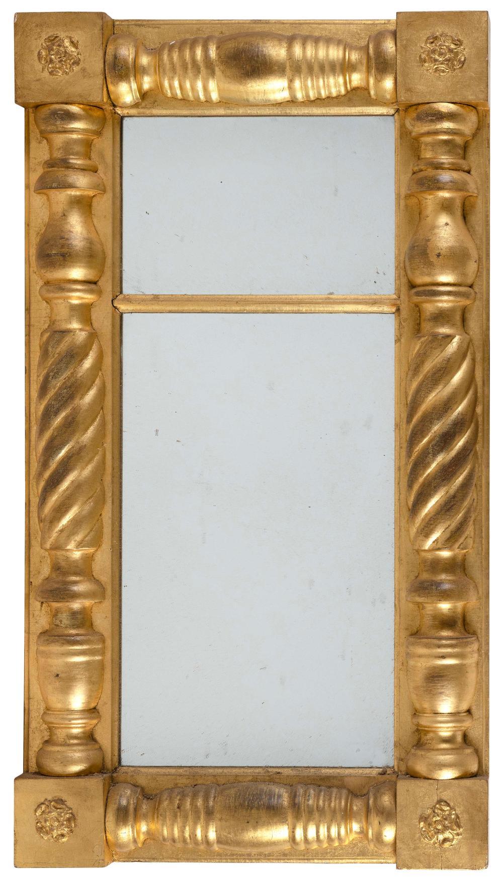 "FEDERAL HALF-COLUMN MIRROR America, Circa 1825 Height 36"". Width 20""."