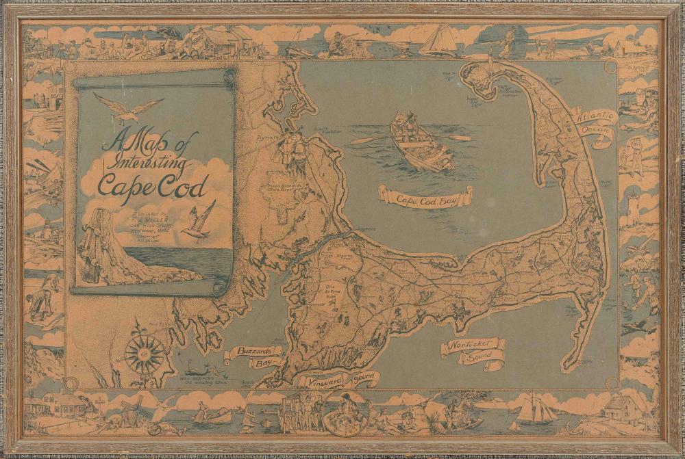 """A MAP OF INTERESTING CAPE COD"" Massachusetts, Circa 1945 21"" x 32"" sight. Framed 23"" x 34""."