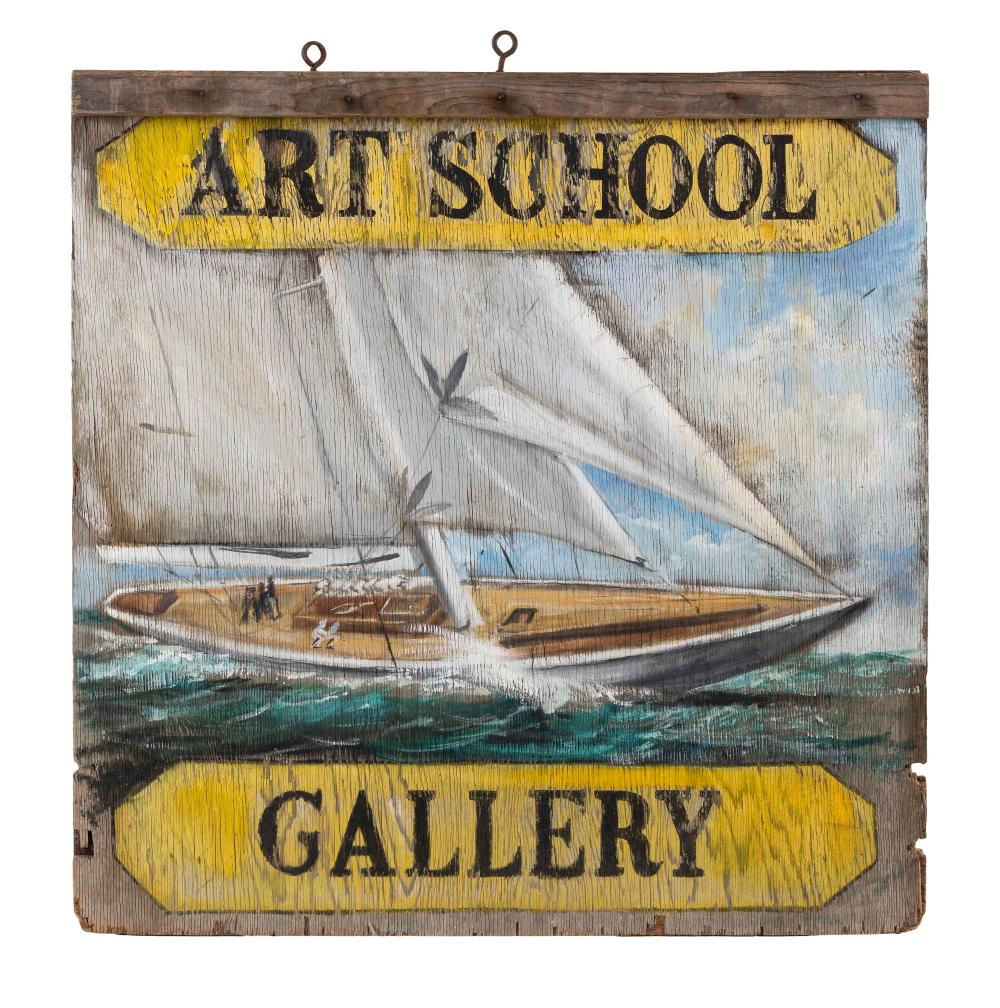 """PAINTED WOODEN """"ART SCHOOL/GALLERY"""" DOUBLE-SIDED SIGN 20th Century 30.5"""" x 30""""."""