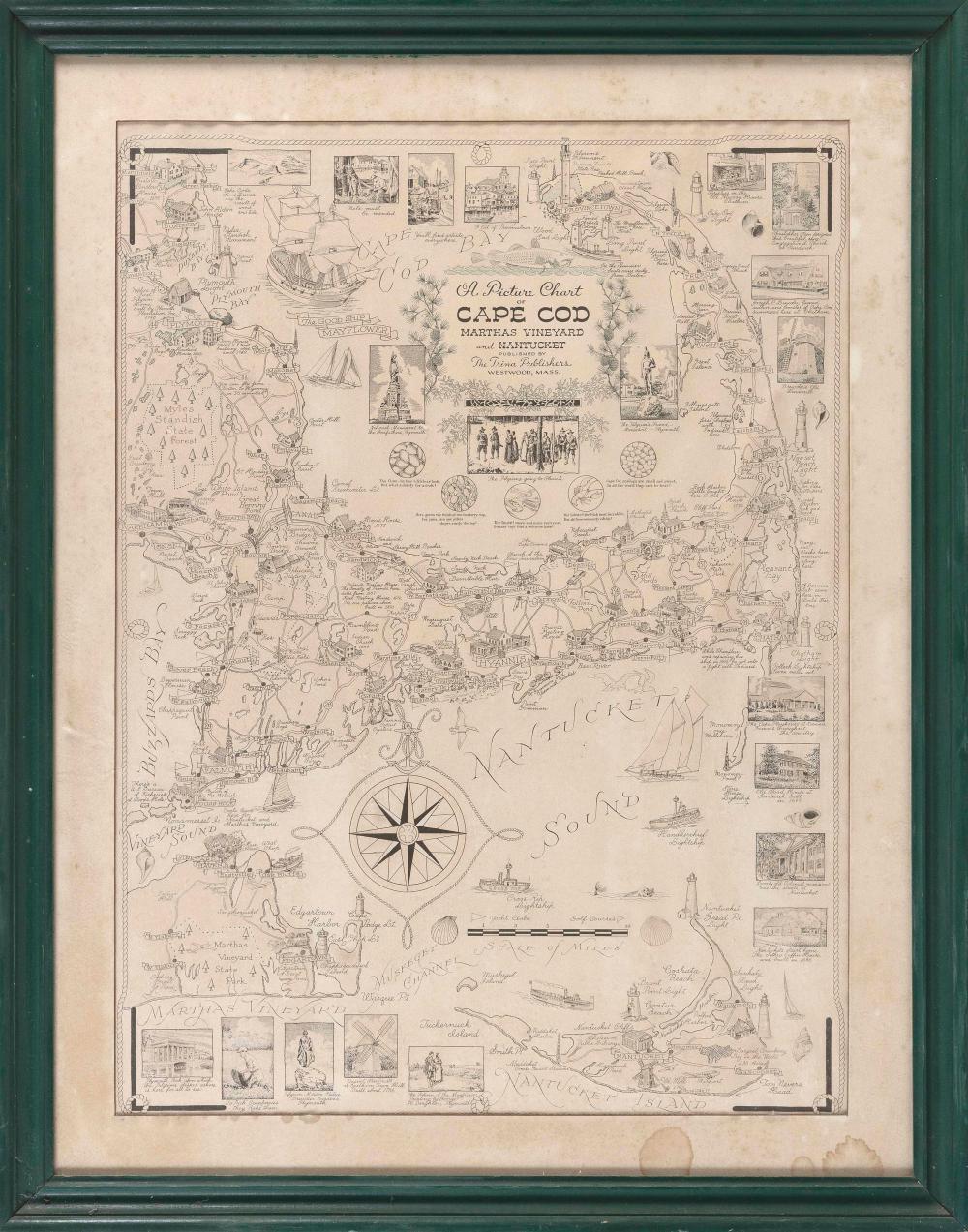 """A PICTURE CHART OF CAPE COD, MARTHA'S VINEYARD AND NANTUCKET"" Massachusetts, Circa 1940 27"" x 20"" sight. Framed 33.5"" x 26.5""."