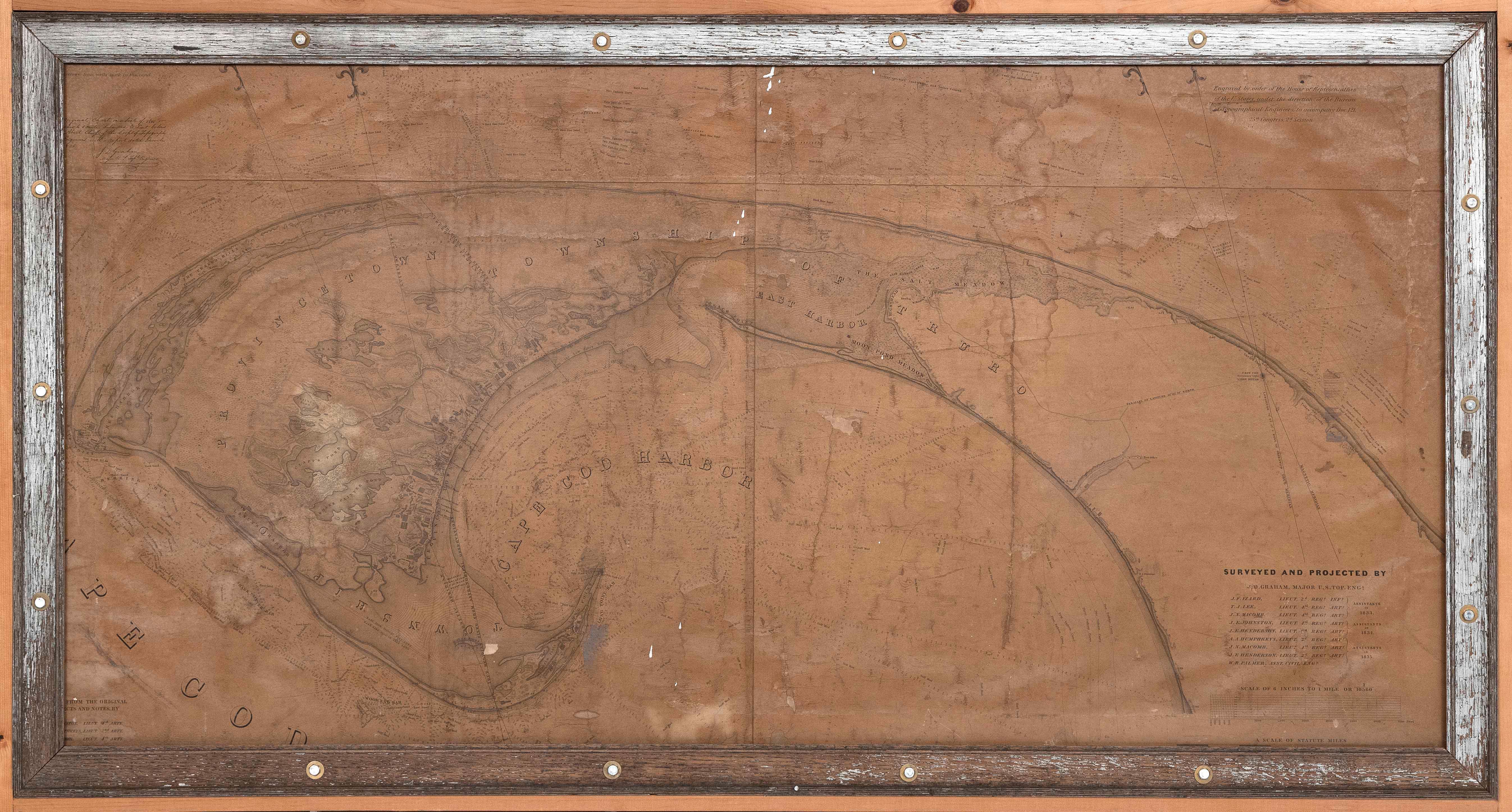 "CHART OF PROVINCETOWN, MASSACHUSETTS Circa 1836 32"" x 65"" sight. Framed 38"" x 71""."