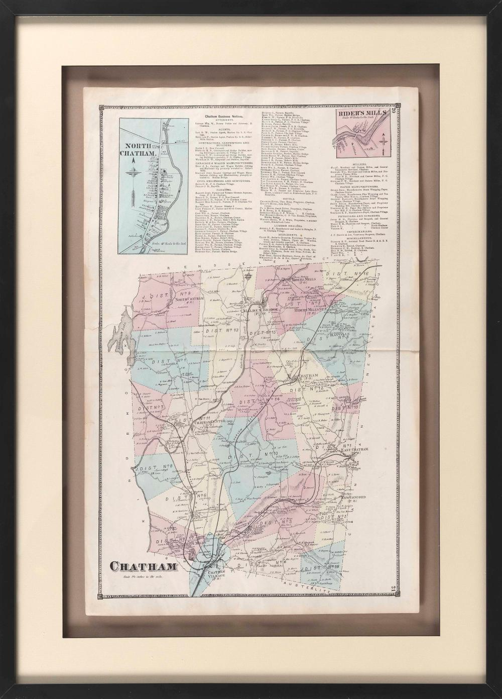 """MAP OF CHATHAM, NEW YORK America, Late 19th Century 25.5"""" x 16"""" sight. Framed 34"""" x 24.5""""."""