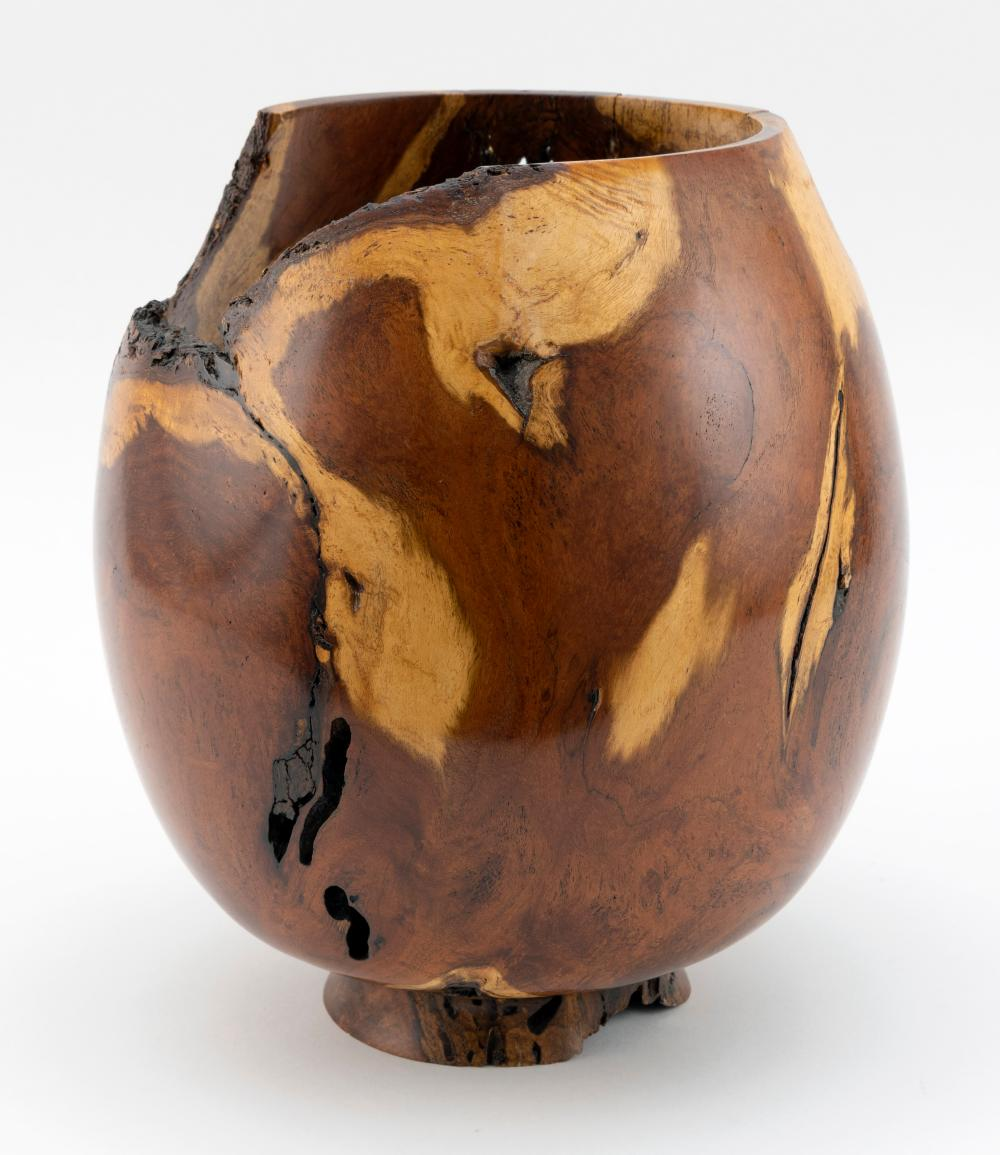 BURLED WOOD VASE Contemporary Height 10.75
