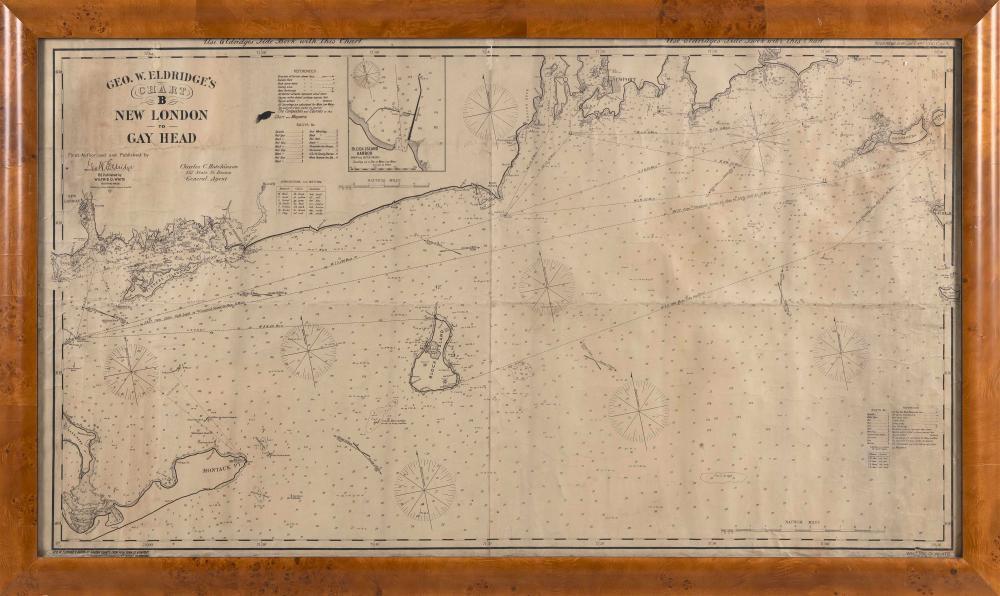 """ORIGINAL GEORGE W. ELDRIDGE 1919 """"CHART B NEW LONDON TO GAY HEAD"""" 27"""" x 48"""" sight. Framed 31"""" x 52.75""""."""