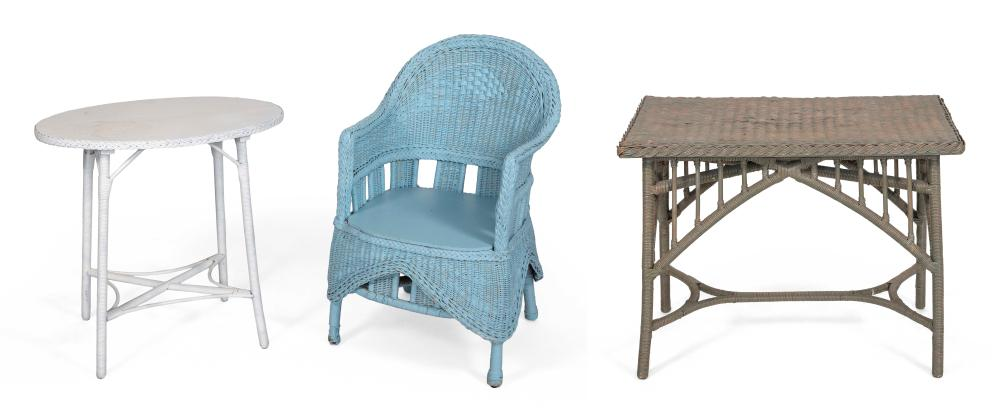 THREE PIECES OF PAINTED WICKER FURNITURE 20th Century