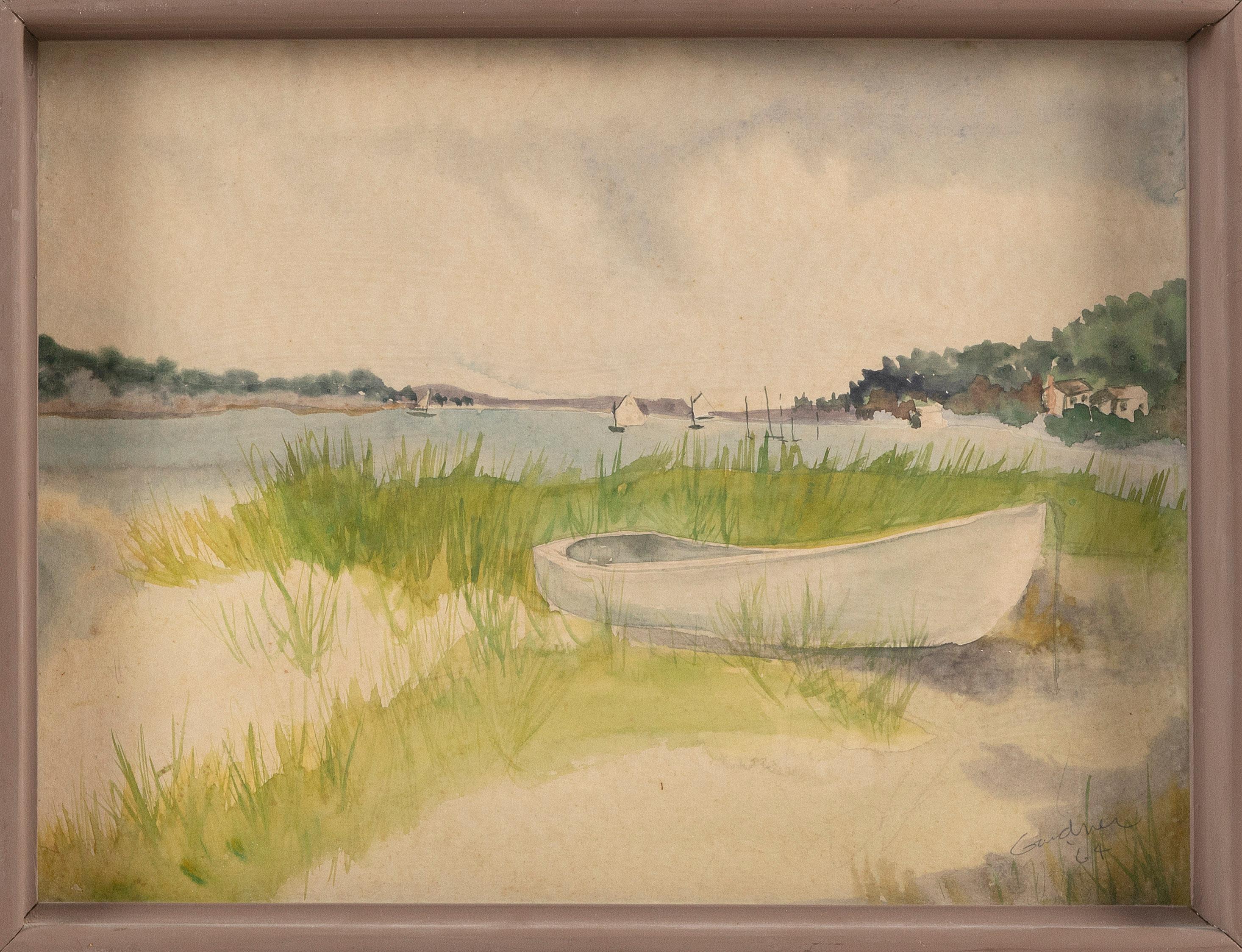 """JOYCE GARDNER ZAVORSKAS (Massachusetts, b. 1945), Head of Town Cove, Orleans, Massachusetts., Watercolor on paper, 12"""" x 16"""". Framed 13"""" x 17""""."""