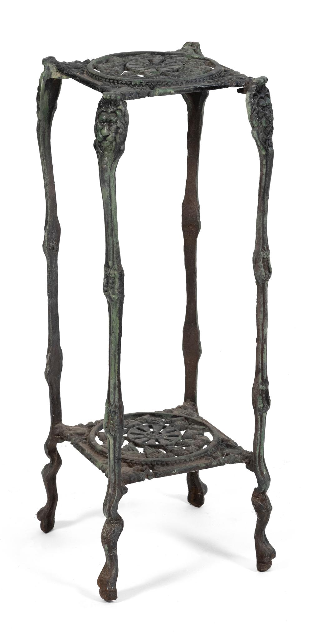 """VINTAGE CAST IRON PLANT STAND Mid-20th Century Height 30.5"""". Top 11.25"""" x 11.25""""."""