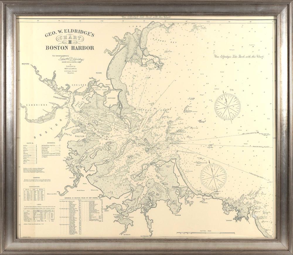 "REPRODUCTION GEORGE ELDRIDGE CHART H OF BOSTON HARBOR 20th Century 39.25"" x 46.5"". Framed 45.5"" x 53.25""."