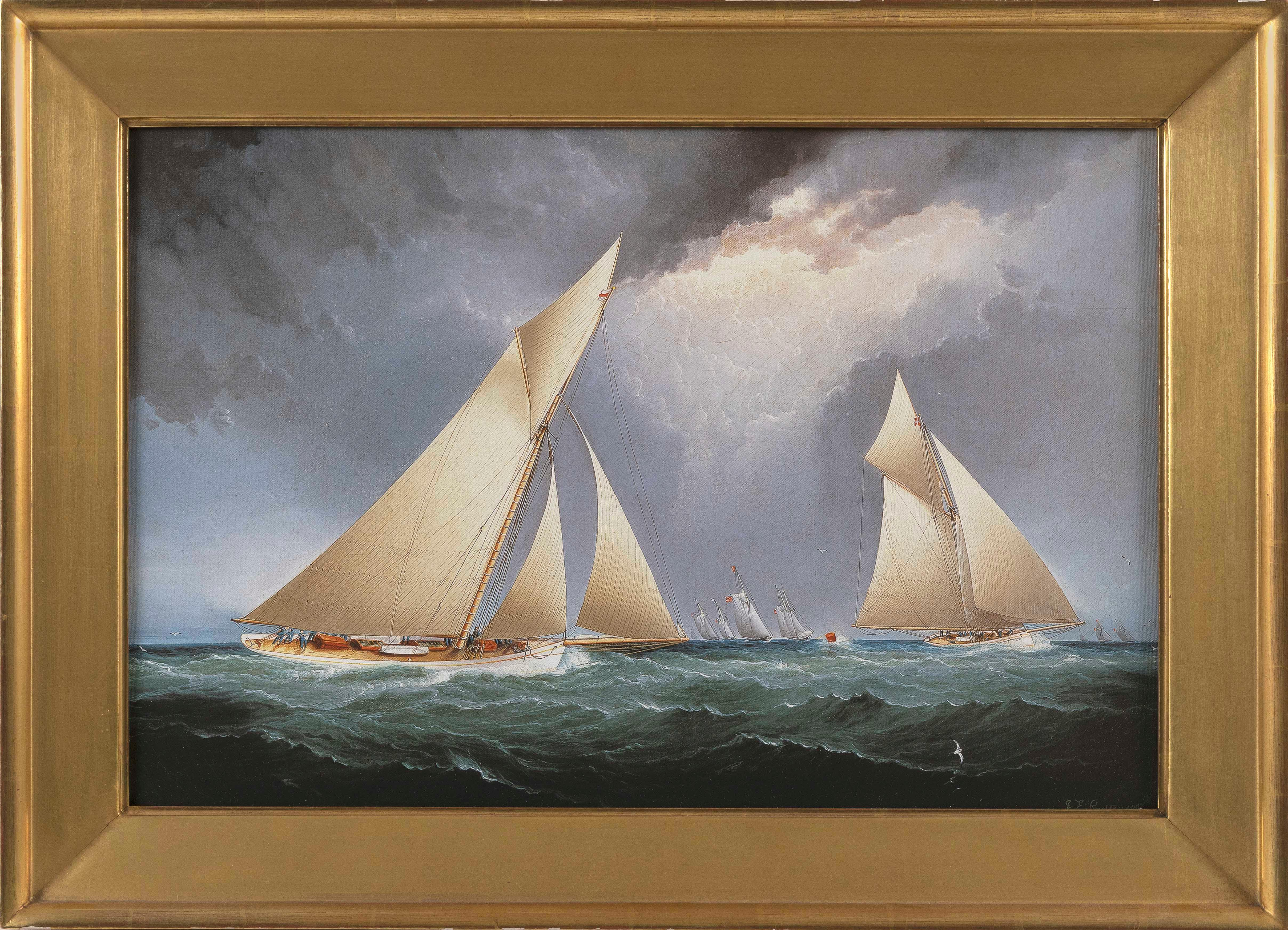 """FINE REPRODUCTION OF A JAMES E. BUTTERSWORTH PAINTING OF """"PURITAN"""" AND """"MAYFLOWER"""" IN THE 1886 AMERICA'S CUP TRIAL Giclée on canvas, 16"""" x 24"""". Framed 21"""" x 30""""."""