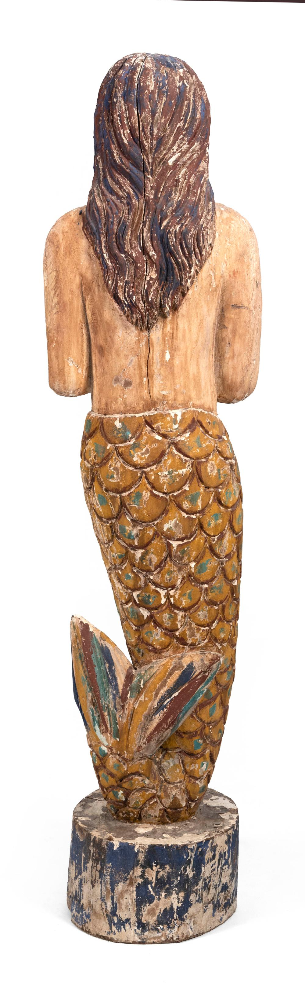 """CARVED AND PAINTED STANDING MERMAID Contemporary Height 67""""."""
