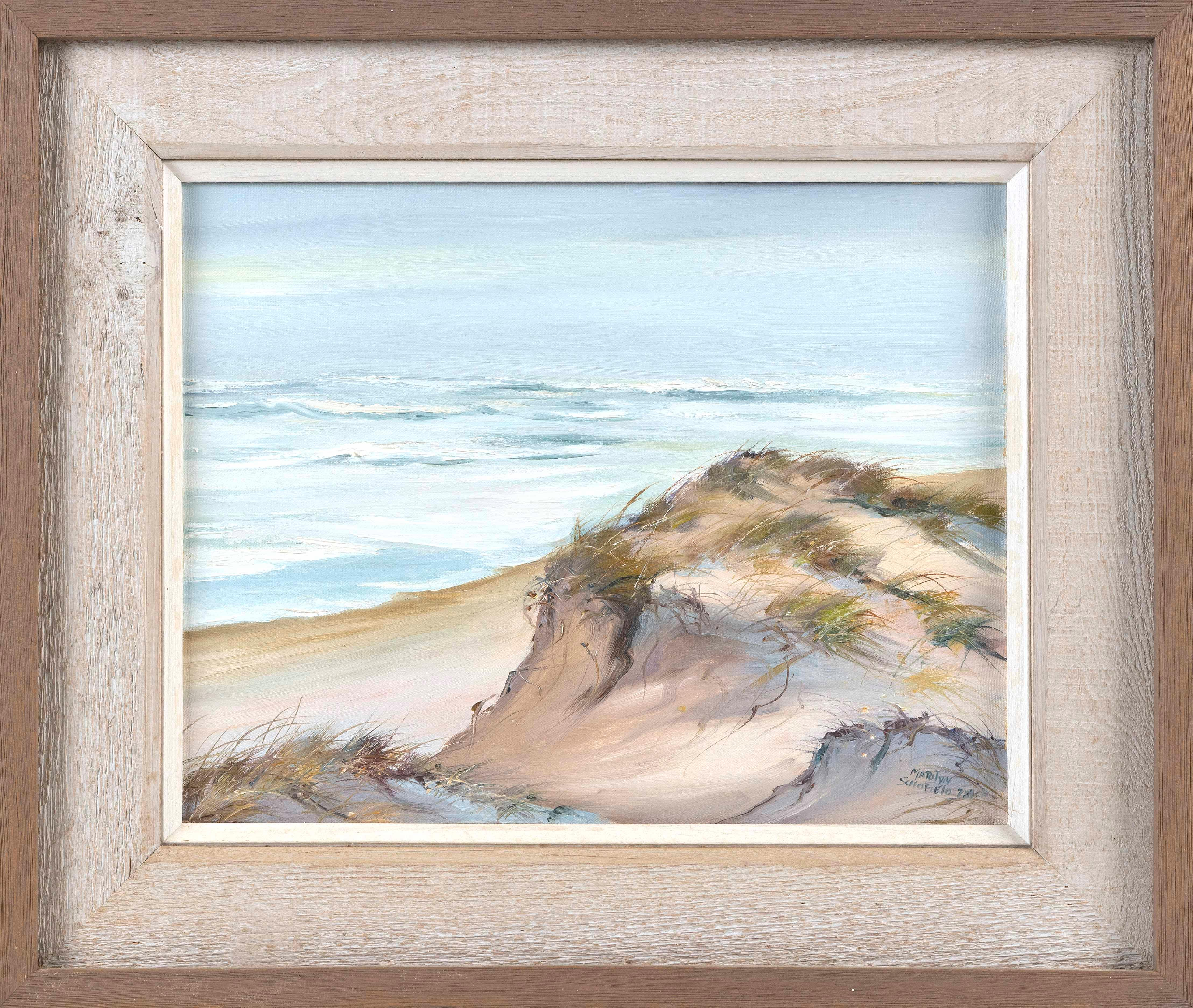 """MARILYN CHACE (PETERS) SCHOFIELD (Massachusetts, 1936-2011), Nauset dunes., Oil on canvas, 14"""" x 18"""". Framed 22"""" x 26""""."""