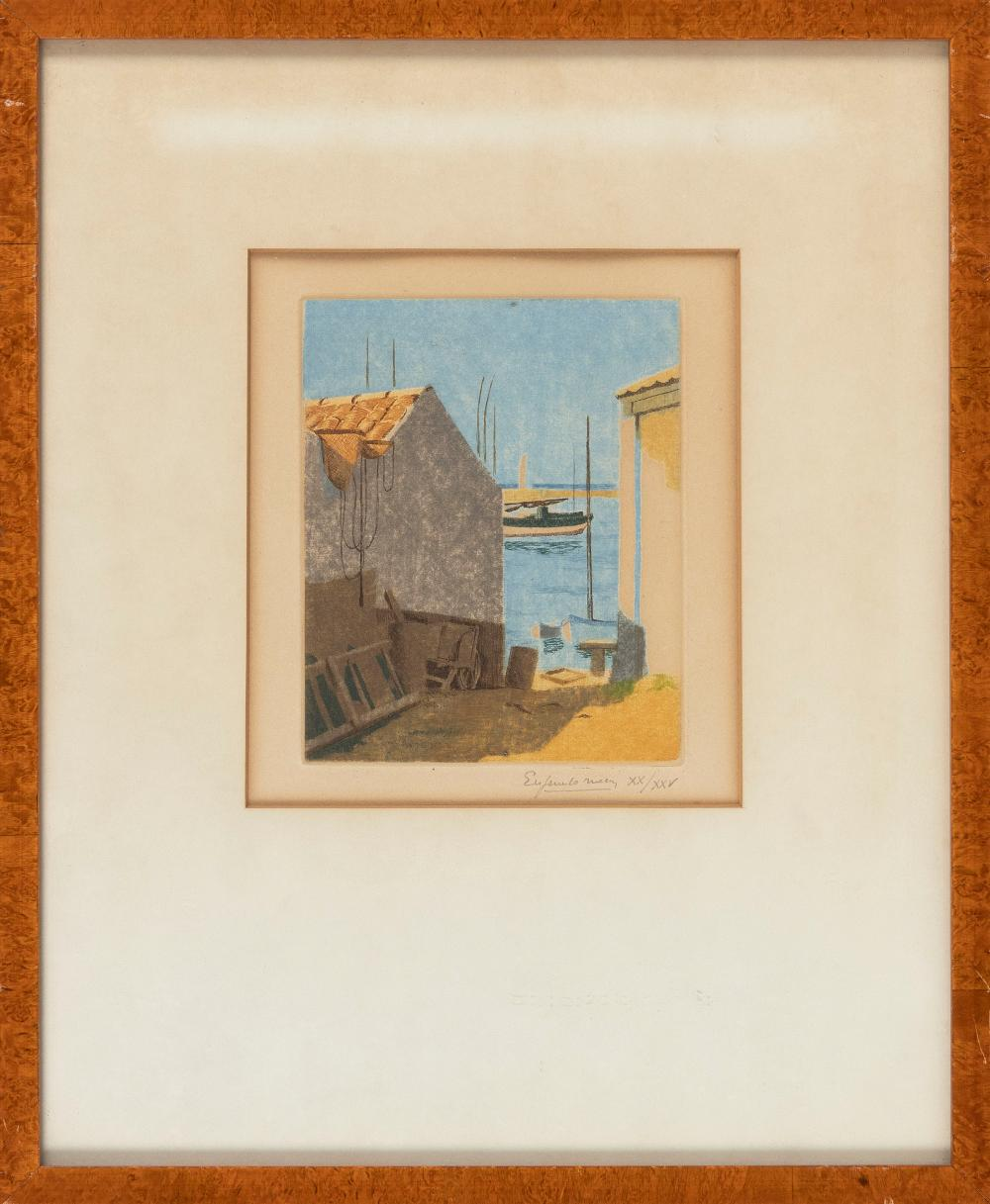 """EUROPEAN COLORED ETCHING Early 20th Century 6.5"""" x 5.25"""" to the plate line. Framed 16.5"""" x 13.75""""."""