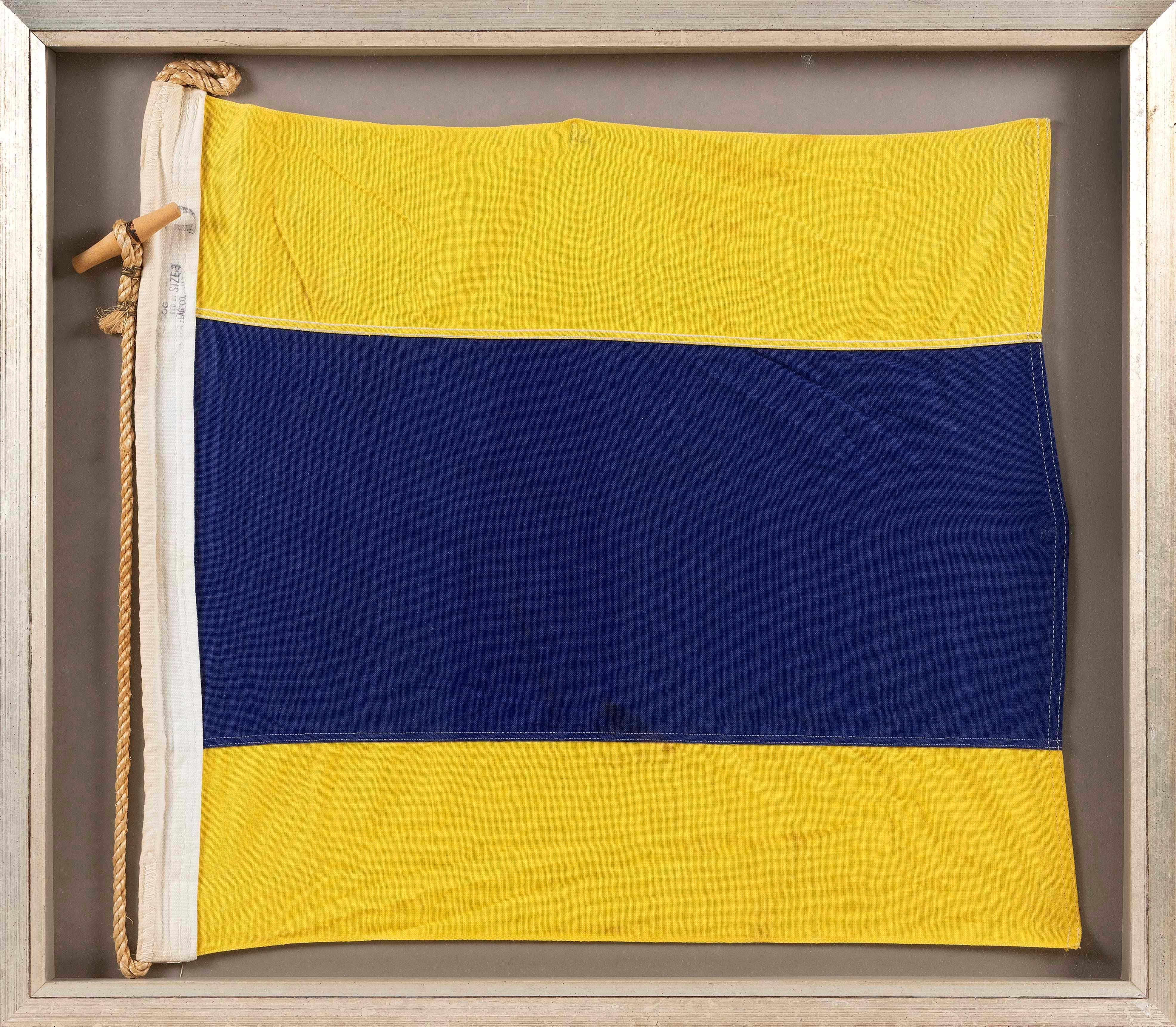 "VINTAGE NAUTICAL ""D"" OR ""DELTA"" ALPHABET SIGNAL FLAG Framed 31"" x 27""."