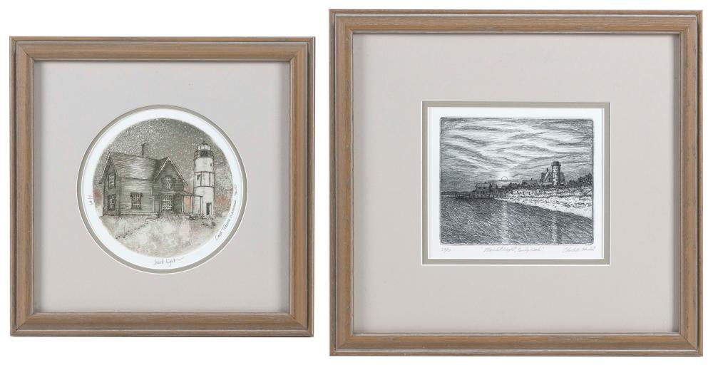 """TWO CAPE COD LIGHTHOUSE-THEMED ETCHINGS Cape Cod, Contemporary Largest 14"""" x 16""""."""
