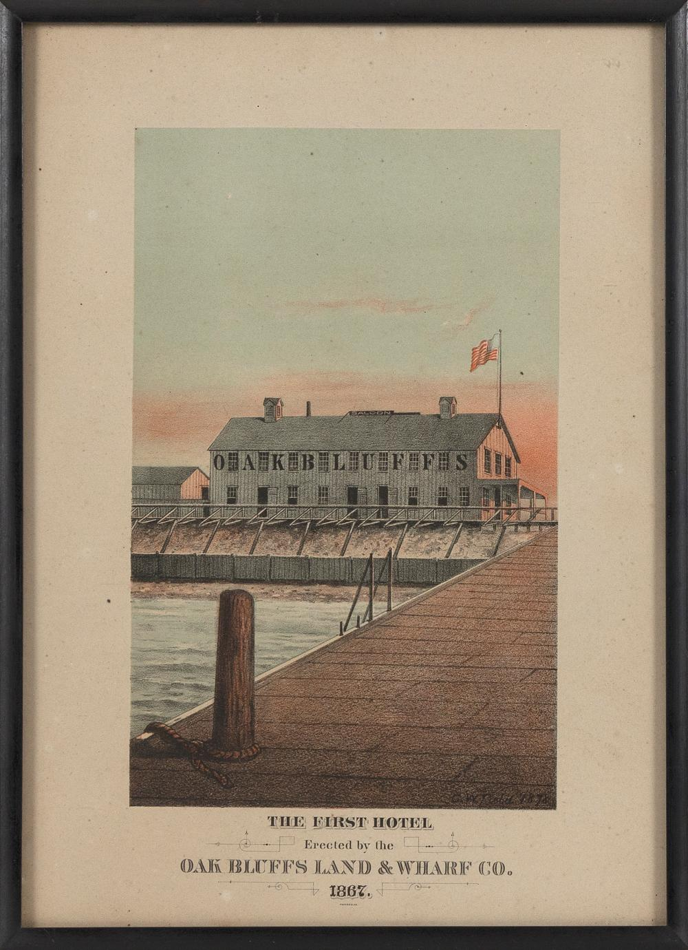 """CHROMOLITHOGRAPH """"THE FIRST HOTEL ERECTED BY THE OAK BLUFFS LAND & WHARF CO."""" Dated 1867 13.5"""" x 9.5"""" sight. Framed 14"""" x 11""""."""