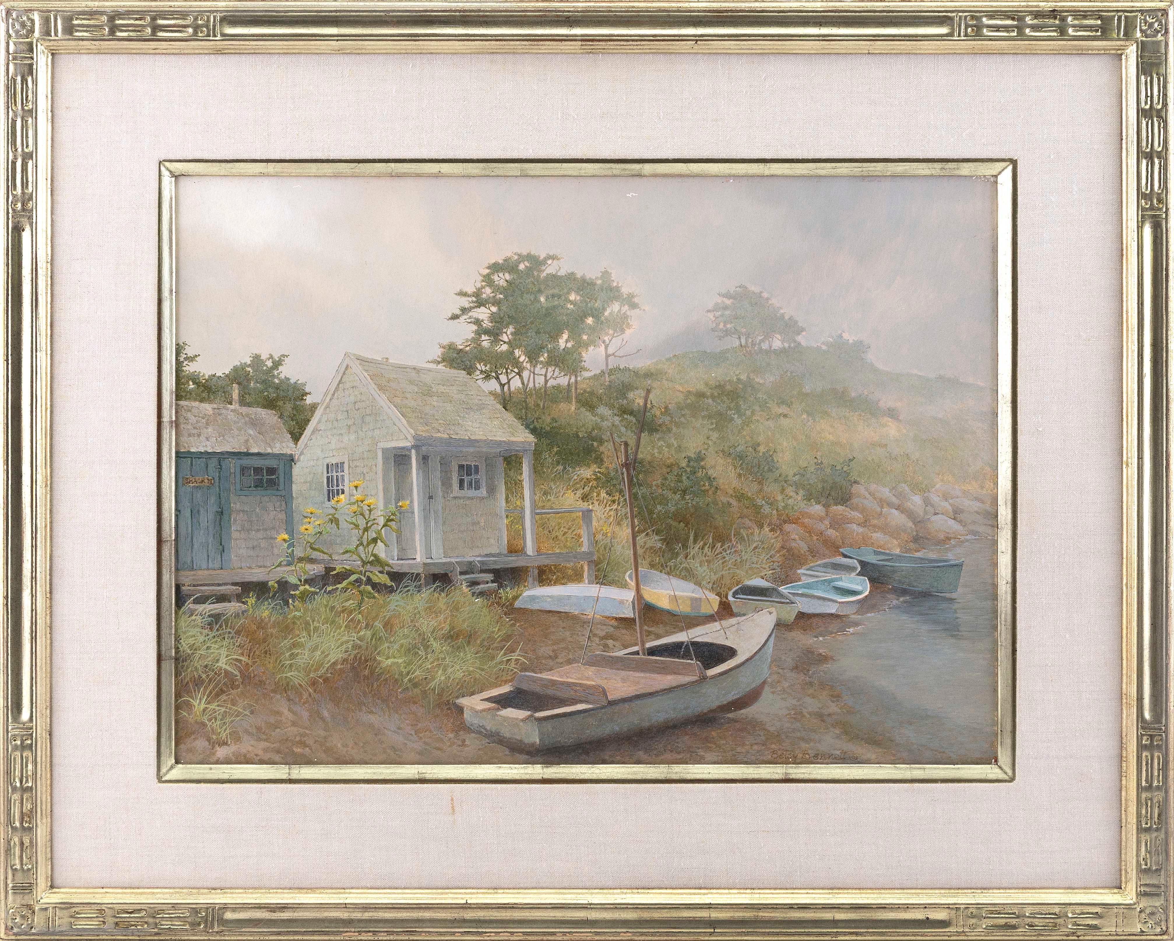 """BETSY BENNETT (Massachusetts, 1928-2007), Beach shacks and dories in the fog., Oil on board, 16"""" x 22"""". Framed 25"""" x 31""""."""