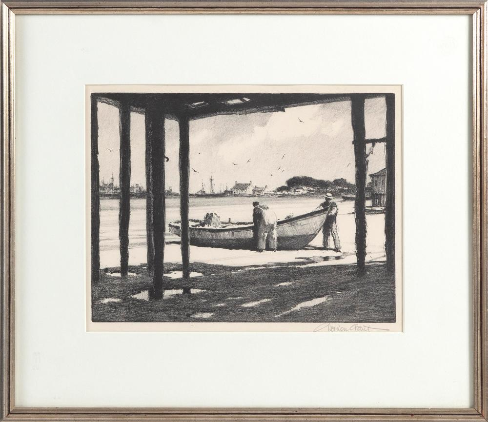 """GORDON HOPE GRANT (New York/California, 1875-1962), """"The Shadow of the Dock""""., Framed 16.75"""" x 19.75"""". Paper size 10.75"""" x 13.75""""."""