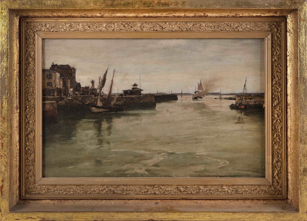 """EUGENE LOUIS BOUDIN (France, 1824-1898), European harbor., Oil on canvas, 15"""" x 24"""". Framed 22"""" x 31""""."""