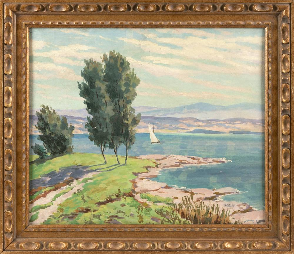 """GEORGES WAKHEVITCH (France, 1907-1984), Expansive shore scene with sailboat., Oil on canvas board, 20"""" x 24"""". Framed 25"""" x 29""""."""