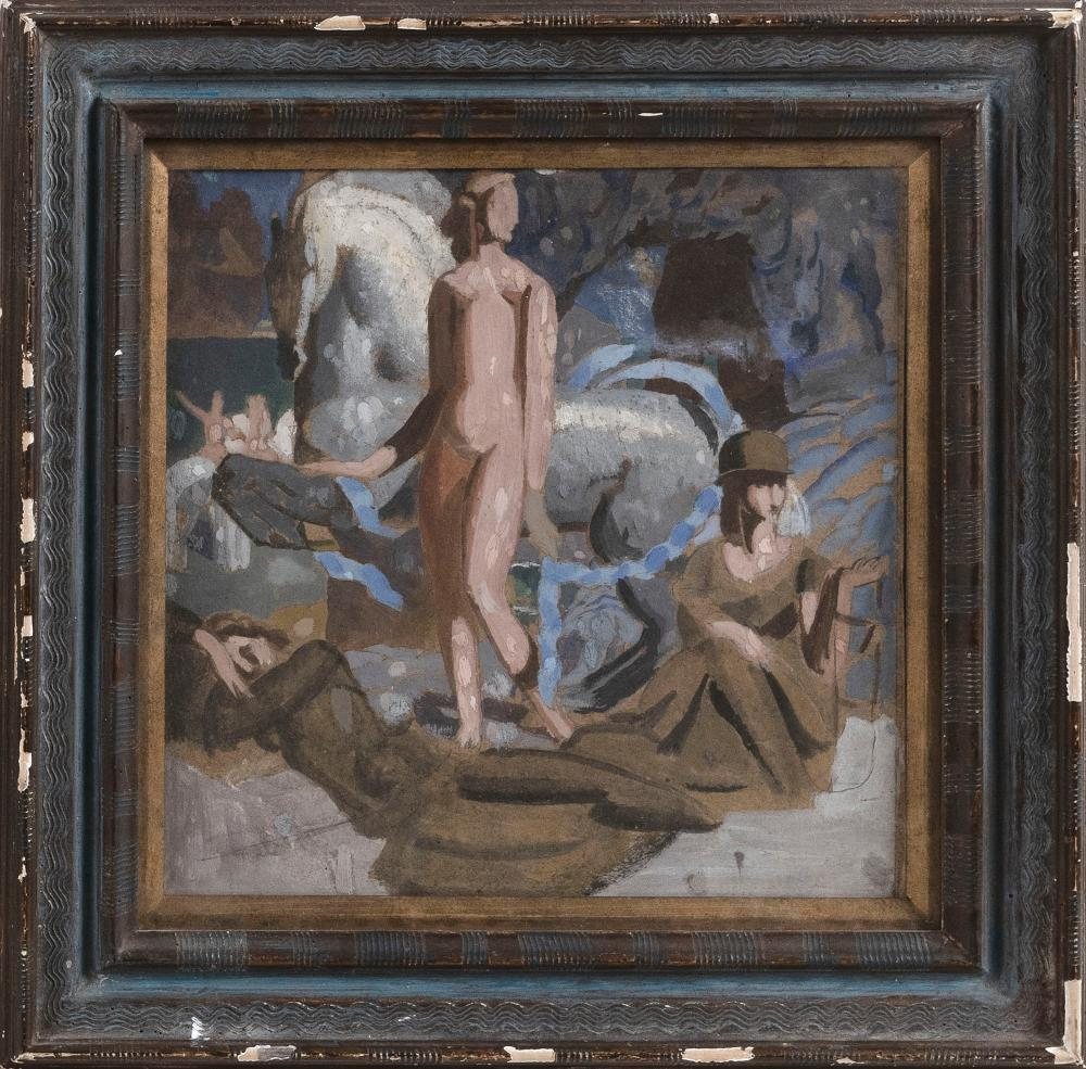 """AMERICAN SCHOOL (Circa 1925,), Figural abstract., Oil on board, 12"""" x 12"""" sight. Framed 16.25"""" x 16""""."""