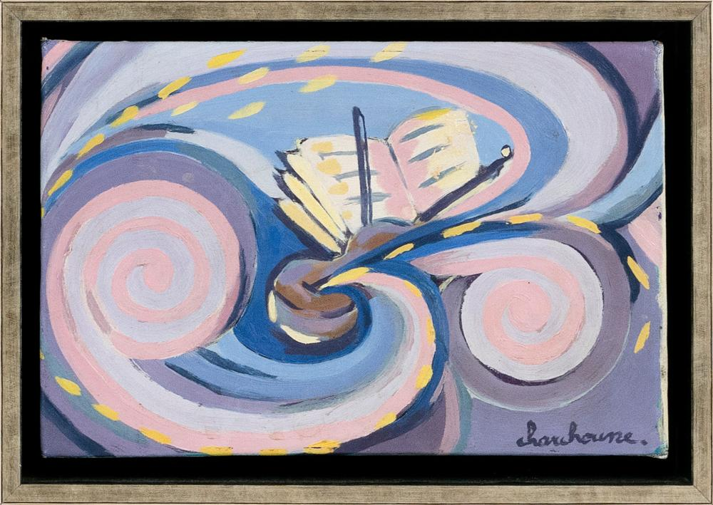 """SERGE CHARCHOUNE (Russian Federation, 1888-1975), Abstract with violion, bow and sheet music., Oil on canvas mounted on board, 7.25"""" x 10.76"""". Framed 9"""" x 12""""."""