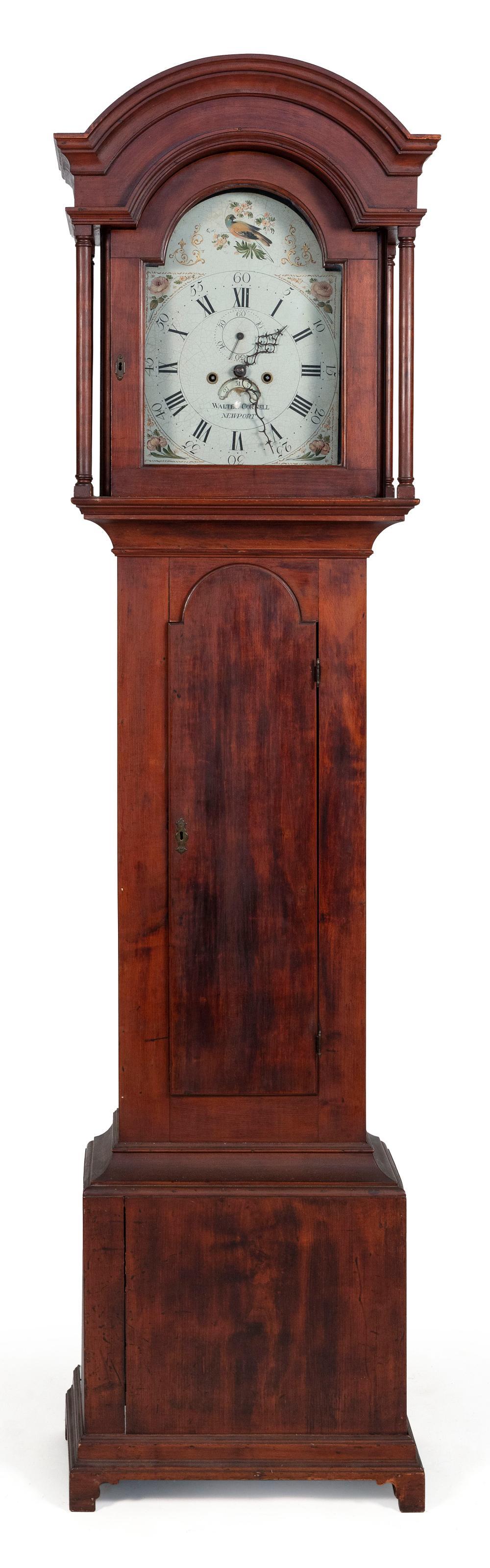 "WALTER CORNELL TALL-CASE CLOCK Newport, Rhode Island, Early 19th Century Height 85.5"". Width 19.25"". Depth 10.75""."