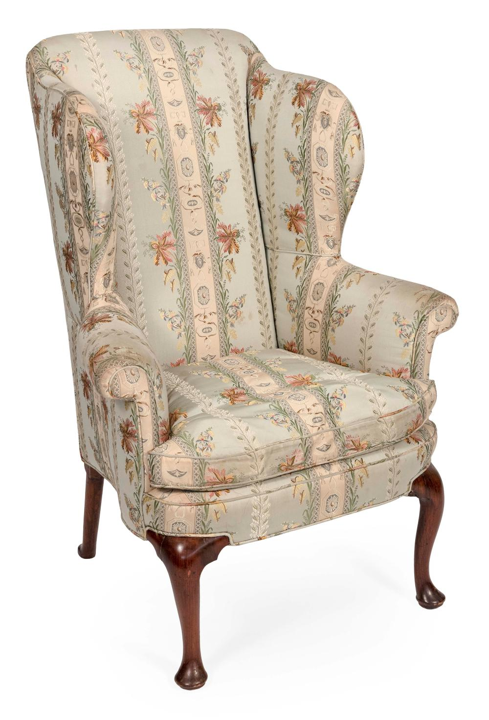 """QUEEN ANNE WING BACK CHAIR New England, Mid-18th Century Back height 48"""". Seat height 17.5"""". Width at arms 33.5"""". Seat depth 20""""."""