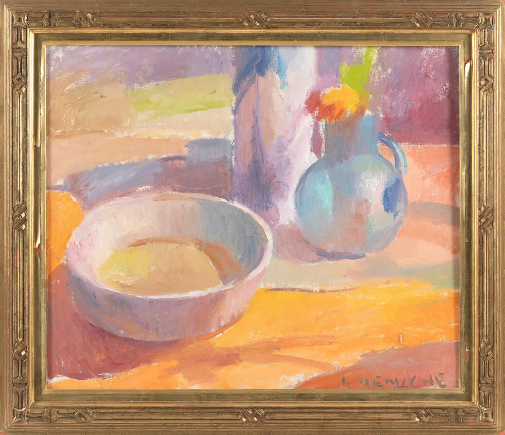 """HENRY HENSCHE (Massachusetts/Louisiana/Germany, 1899-1992), Still life of a bowl and a pitcher filled with flowers., Oil on canvas, 20"""" x 24"""". Framed 25"""" x 29""""."""