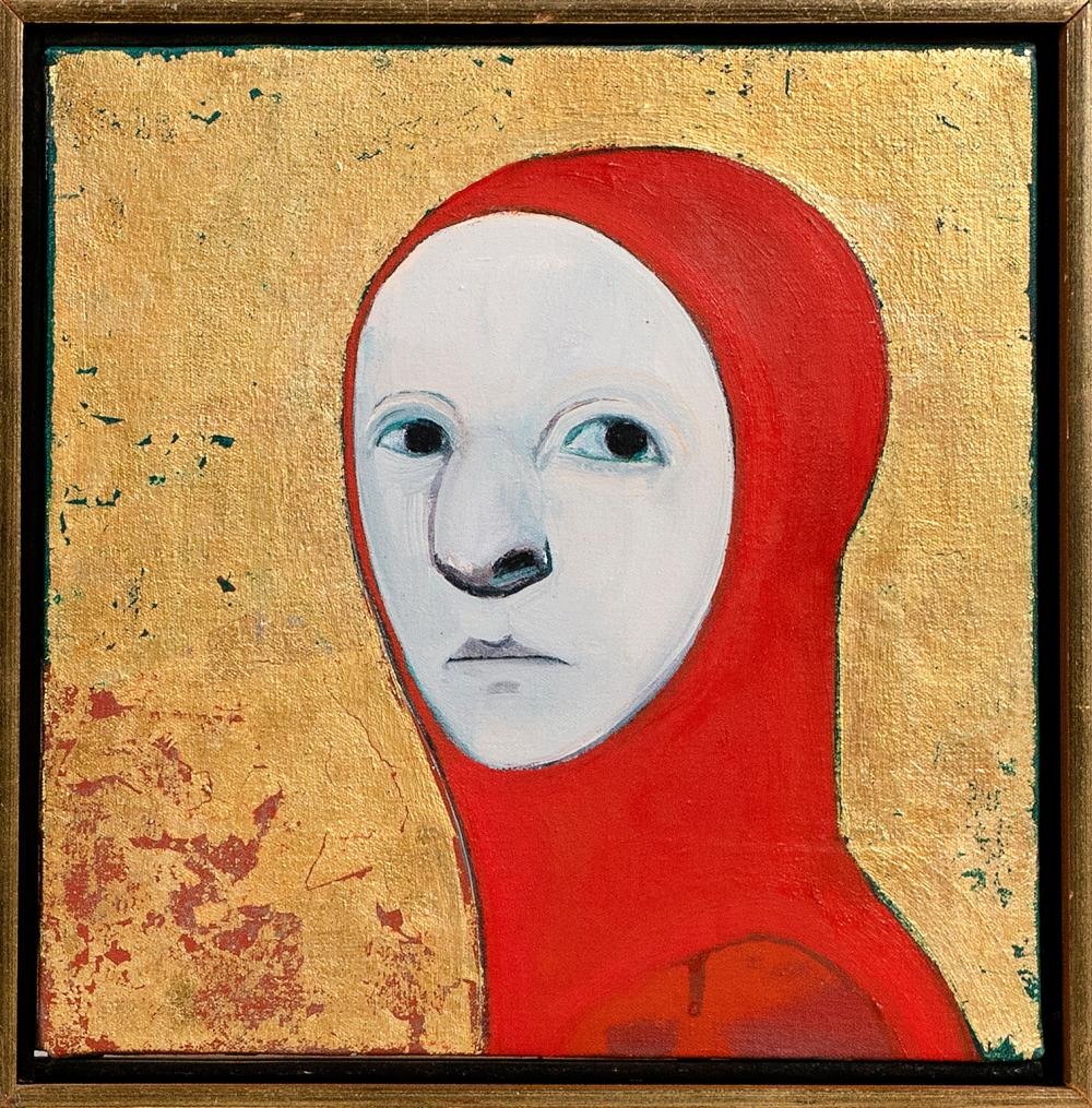 """SELINA TRIEFF (New York/Massachusetts, 1934-2015), Woman in red., Oil and gold leaf on canvas, 12"""" x 12"""". Framed."""
