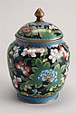 CIRCA 1900 CHINESE CLOISONNÉ ENAMEL COVERED JAR in pear shape with bird and flower design. Height 6½